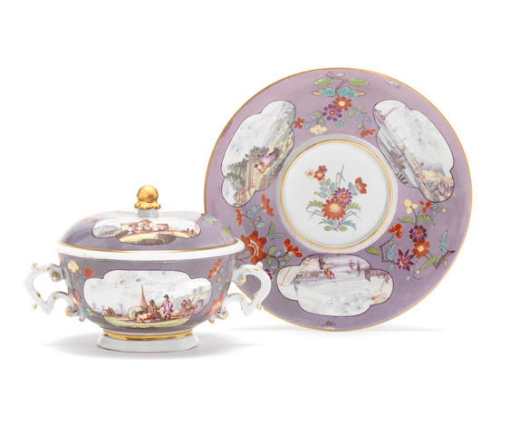 A Meissen purple-ground two-handled ecuelle, cover and stand, circa 1740