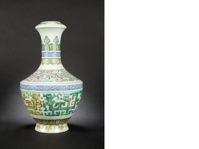 A doucai archaistic vase Qianlong mark