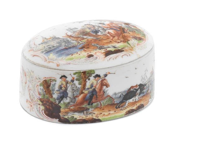 A Meissen snuff box and cover, circa 1750