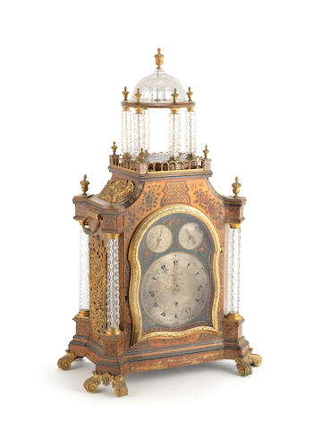 A fine and rare late 18th century glass-mounted six-tune musical table clock made for the Export market George Prior, London