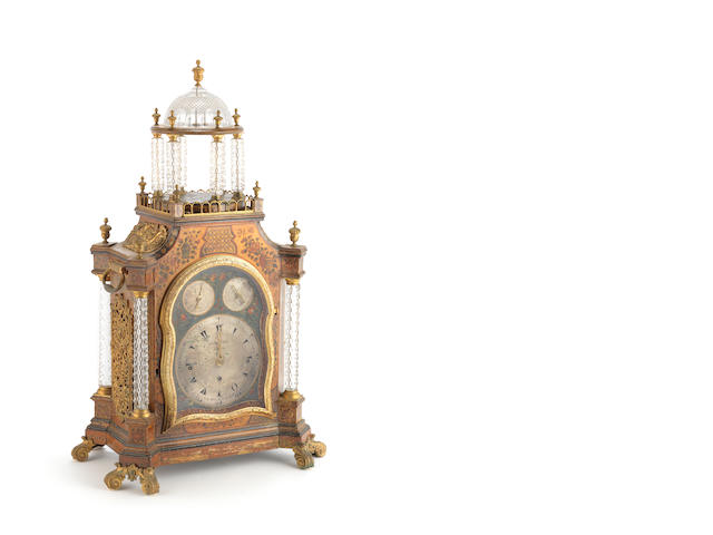 An English glass and yellow decorated clock by George Prior, London