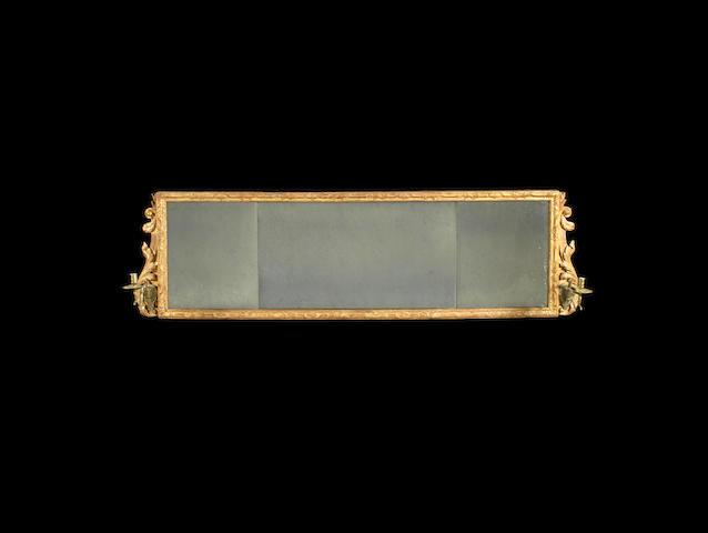 A George I carved giltwood landscape girandole/mirror