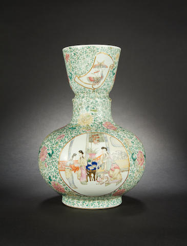 A polychrome, famille rose vase  Qianlong six-character mark