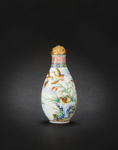 A Canton enamel-style snuff bottle Qianlong four-character mark