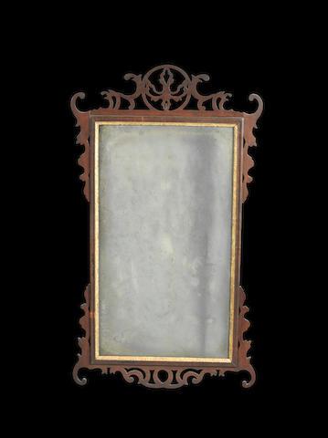 A George II mahogany fretwork mirror