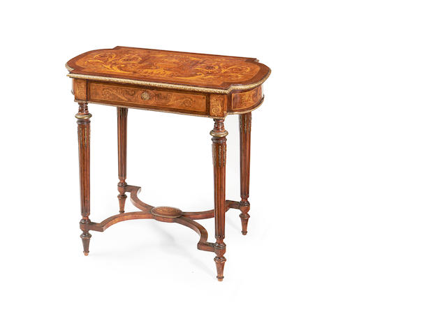 A French late 19th century walnut, amaranth and fruitwood marquetry table à ouvrage  <BR />by Paul Sormani in the Louis XVI style