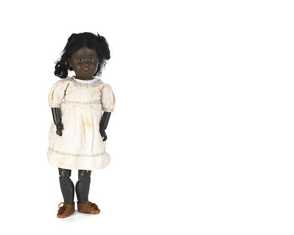 Rare Gebruder Kuhnlenz 34 black bisque head character doll