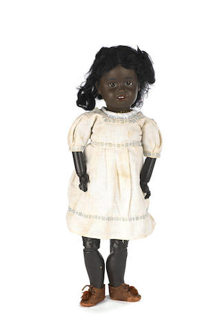 Rare Gebruder Kuhnlenz 34 black bisque head character doll