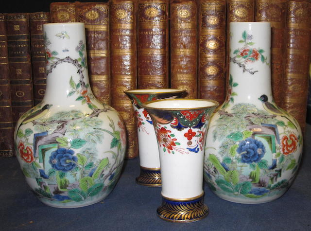 A pair Chinese famille verte bottle vases,with spurious Jiajing 6-character marks, 9cm high, and a pair of Spode spill vases, 6cm high, (4)