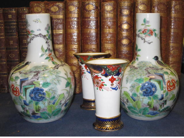 Pair Chinese famille verte bottle vases, & a pair of Spode spill vases 4