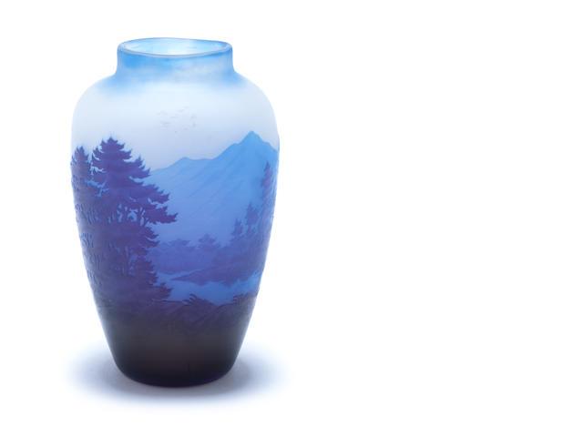 Emile Gallé A Cameo Glass Landscape Vase
