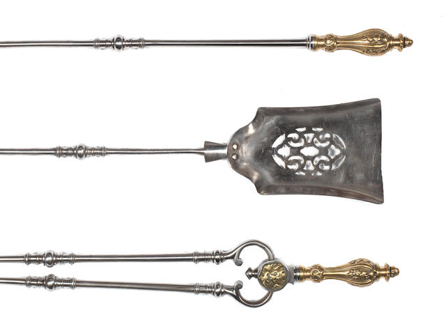 3 ormolu handled fire tools