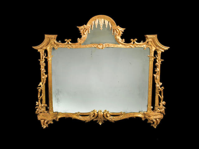 A George III giltwood carved overmantel mirror