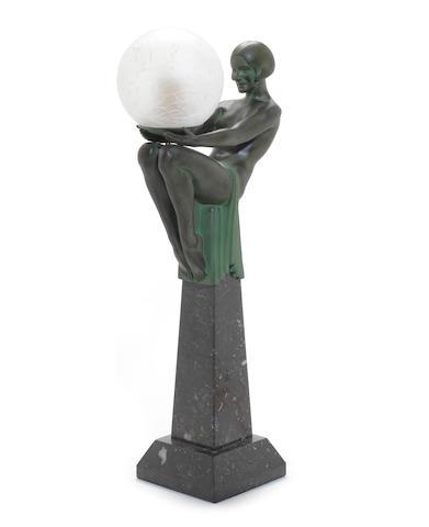 Max Le Verrier 'Enigme' a Figural Lamp, circa 1925