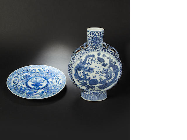 Two blue and white wares Qing Dynasty, both with Kangxi marks