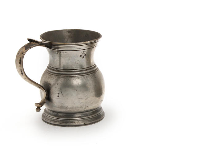 A Bristol bulbous pint measure, circa 1850