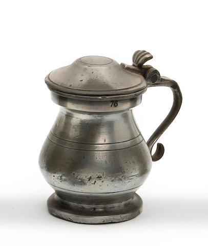 A Scottish Imperial gill lidded bulbous pewter measure, circa 1870
