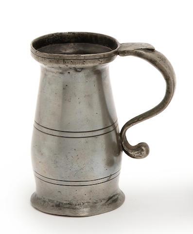 A Wigan lidless half mutchkin baluster measure, circa 1800