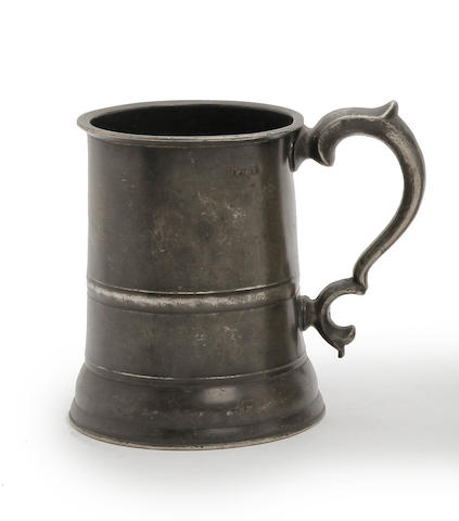 An Irish straight-sided pint mug, circa 1850