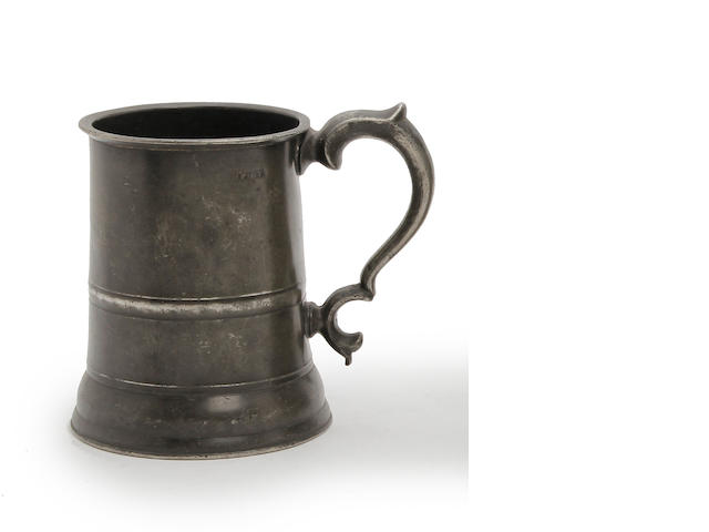 A 19th Century Irish straight-sided pint mug, circa 1850