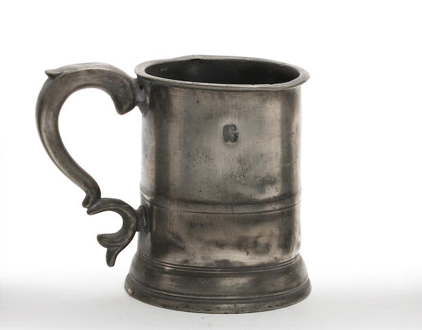 An Irish straight-sided pint mug, circa 1860