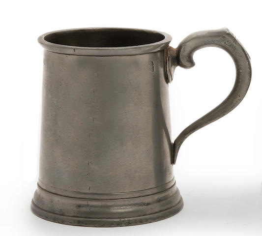 An Irish straight-sided pint mug, circa 1825