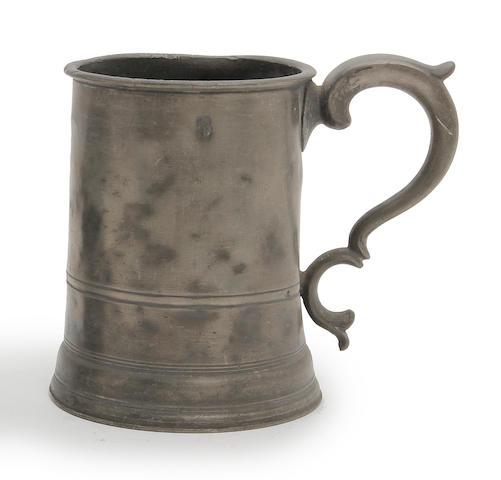 An Irish straight-sided quart pewter mug, circa 1860