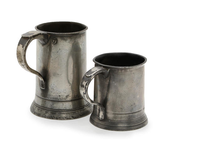Two early 19th century Newcastle-Upon-Tyne straight sided-sided mugs