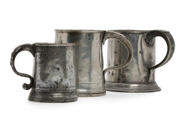 Three Newcastle-Upon-Tyne pewter mugs