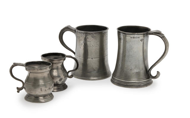 Three Bristol pewter mugs