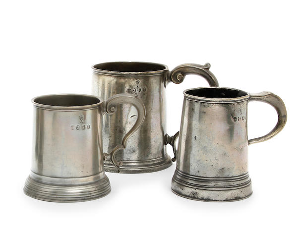 A Wigan Pre-Imperial straight-sided mug, 6 gill capacity, circa 1780