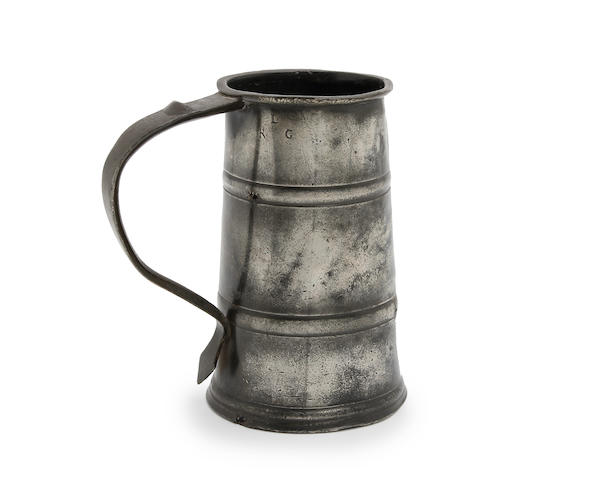 A quart two-band tavern pot, circa 1685,