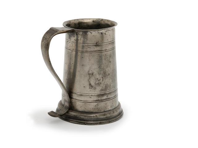 A quart two-band tavern pot, circa 1690