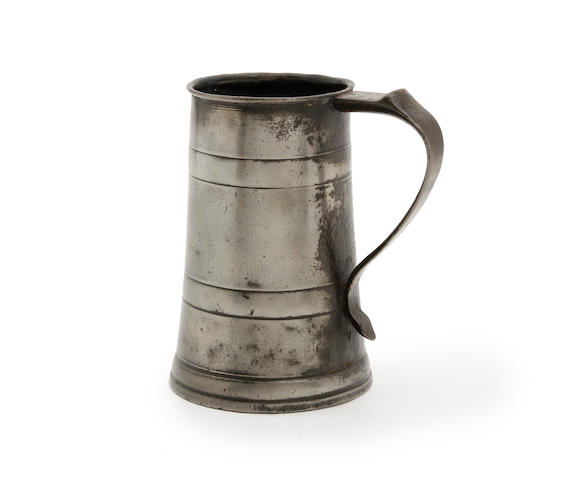 A rare quart two-band tavern pot, circa 1720