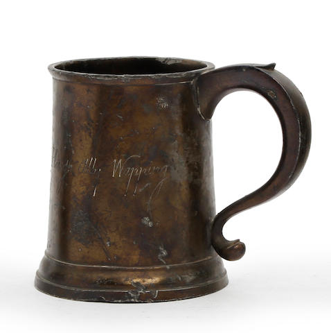 A Pre-Imperial straight-sided pint mug, circa 1750