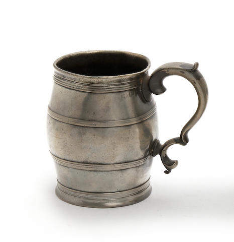 A pre-Imperial pint barrel-shaped mug, circa 1820