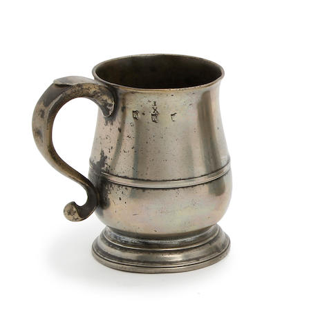 A Newcastle-Upon-Tyne tulip-shaped ale pint mug, circa 1760