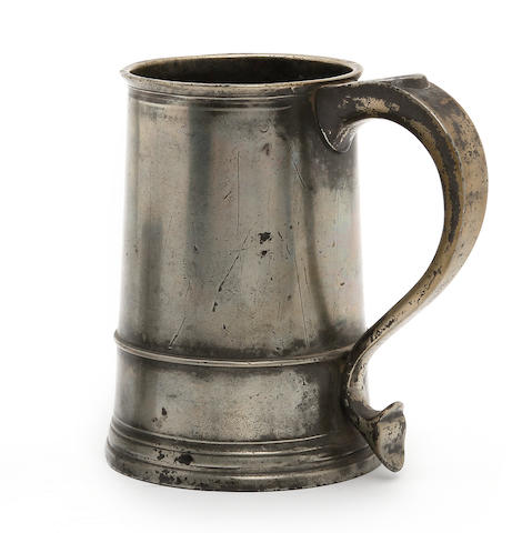 A Bristol quart OEWS straight-sided mug, circa 1740