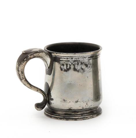 A Pre-Imperial Bristol squat tulip-shaped mug, half-pint capacity, circa 1740