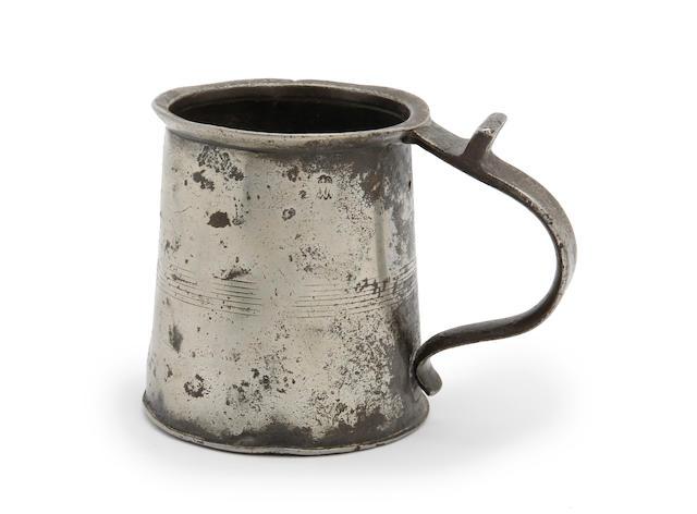 A rare pint mug, circa 1690