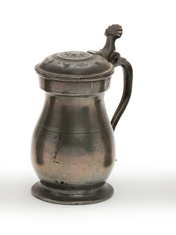 A Glasgow Imperial gill lidded baluster pewter measure, circa 1830