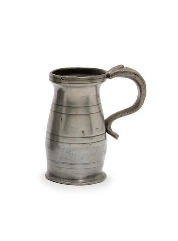 A Wigan quarter mutchkin slender lidless baluster measure, circa 1790