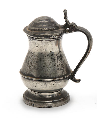 A Scottish quarter-mutchkin lidded tulip-shaped tankard