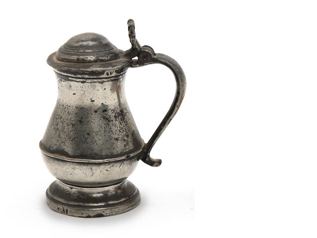 A Scottish lidded tulip-shaped tankard