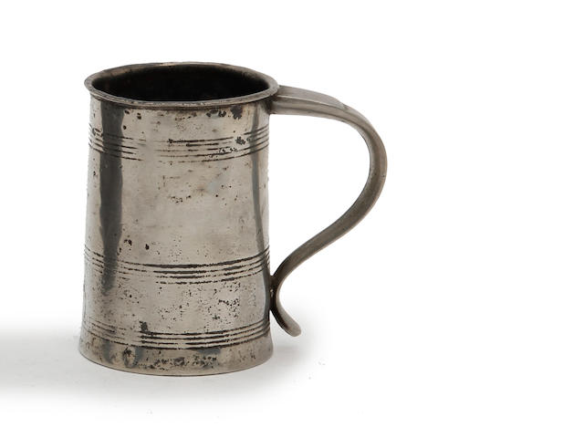 A pre-Imperial Irish straight-sided mug of Irish half-pint capacity