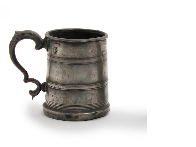 A pre-Imperial Irish straight-sided mug of Irish pint capacity