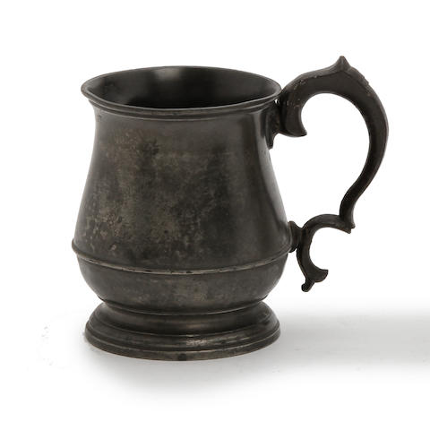 An Irish Imperial half-pint squat tulip-shaped pewter mug, circa 1830