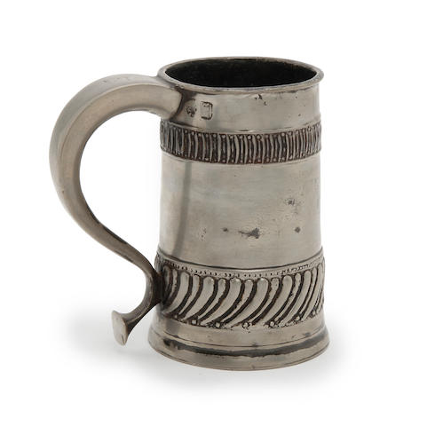 A rare gadrooned ale mug, pint capacity, circa 1705