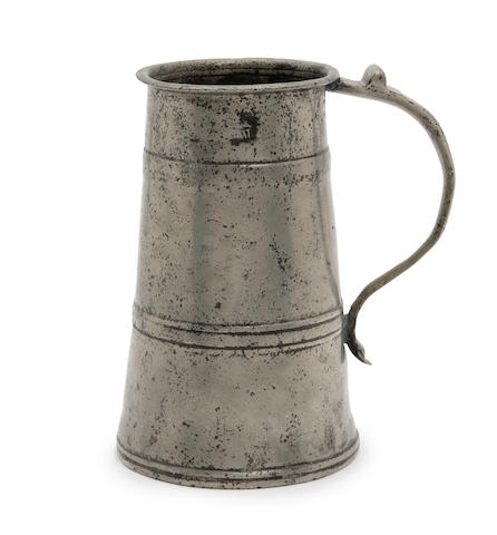 A rare quart two-band pewter tavern pot, circa 1685