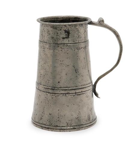 A rare quart two-band pewter tavern pot, circa 1685